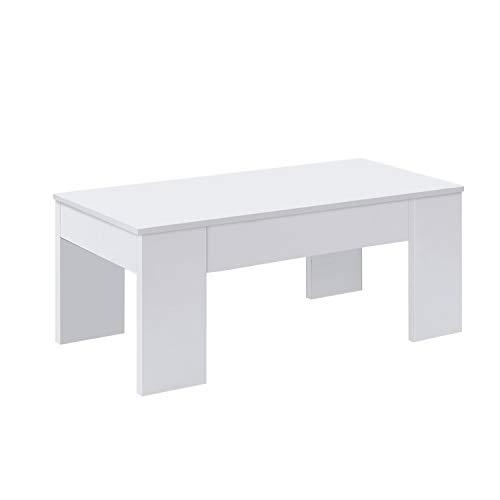 Mesa de Centro Elevable, Mesita de Salón o Comedor, Modelo LC, Acabado en Color Blanco Artik, Medidas: 100 cm (Ancho) x 50 cm (Fondo) x 45-56 cm (Alto)