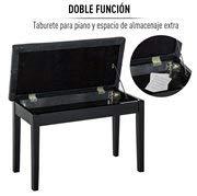 HOMCOM Taburete de Piano Banco de Teclado con Espacio de Almacenamiento 76x36x50 cm y Cuero Sintetico