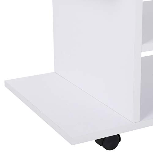 HOMCOM Mesa Armario móvil Mueble de TV Tele de Madera con Ruedas Color Blanco Nuevo