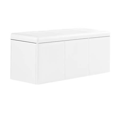 Adec (Universal) - Baúl tapizado en similpiel Color Blanco, Dimensiones 0,90 Largo x 0,40 Altura x 0,0,40 Profundidad