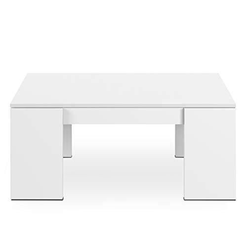 Mesa de Centro Elevable, Mesita de Salon Comedor, Modelo Kendra, Acabado en Blanco Brillo, Medidas: 100 cm (Largo) x 50 cm (Ancho) x 43-54 cm (Alto)