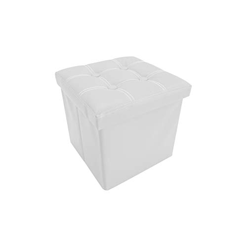 Rebecca Mobili Puf contenedor de Cuero sintético, Puff, Taburete Cubo, reposapiés Blanco - Medidas: 30 x 30 x 30 cm (AxANxF) - Art. RE4256