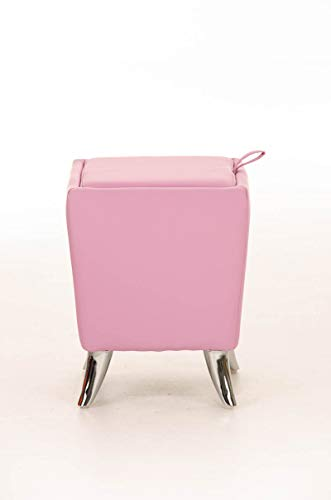 Taburete Puff De Almacenamiento Roxy I Taburete Reposapiés Tapizado En Simil Cuero I Otomana De Almacenaje Moderna I Color:, Color:Fucsia