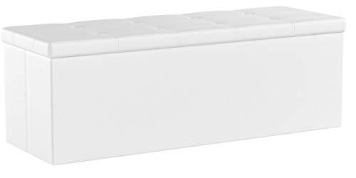 Songmics Baúl Puff - Taburete para almacenaje, Plegable Carga máxima de 300 kg, Blanco, 110 x 38 x 38 cm