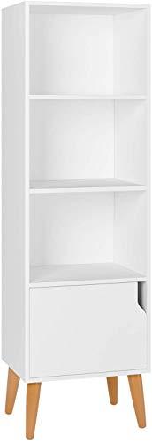 Homfa Estantería Librería Estantería para Libros Estantería de Pared con 4 Cubos 1 Puerta Blanco 40x30x129.5cm