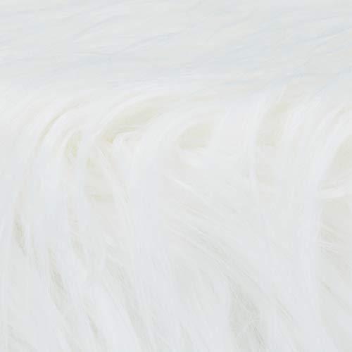 Relaxdays Taburete Bajo de Pelo Sintético Suave con 4 Patas, DM, Madera de Pino y Poliéster, Blanco, 31 x 31 cm