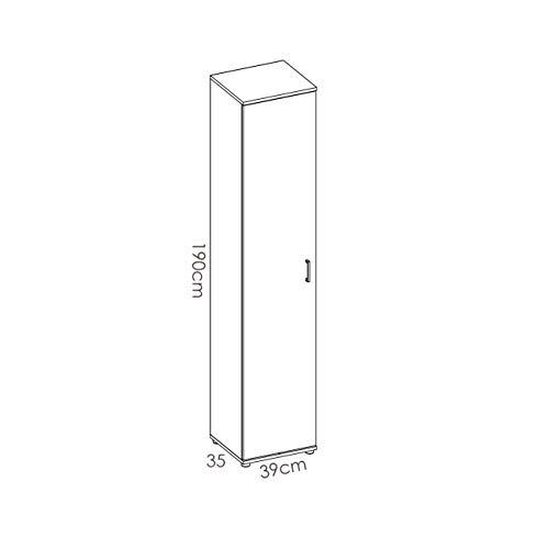 HABITMOBEL Armario estantería Multiusos Acabado Blanco, Alto 190cm Patas Regulables + Gancho Incluido