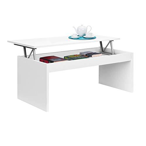 Mesa de Centro elevable, mesita Mueble Salon Comedor, Blanco Brillo, Medidas: 102 cm (Ancho) x 43/52 cm de (Alto) x 50 cm (Fondo)
