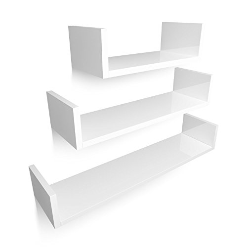 Homfa Estantería de Pared Estanterías Cubos Juego de 3 Estantes para Libros CDs Blanco