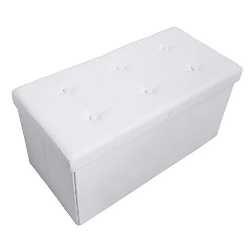 Todeco - Almacenamiento Banco, Almacenamiento Otomano Plegable de Cuero - Carga máxima: 150 kg - Material: Imitación de Cuero - Acabado Cosido y copetudo, 76 x 38 x 38 cm, Blanco