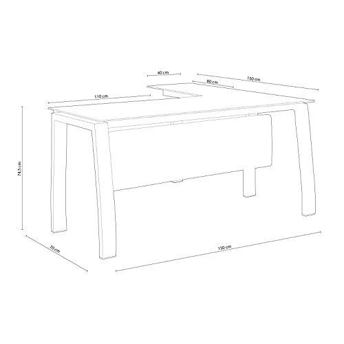 Adec - Blake, Mesa de Despacho, Mesa de Oficina o Escritorio, Estructura metálica Acabado en Color Blanco y Cristal Templado, Medidas: 150 cm (Largo) x 70 cm (Ancho) x 74,5 cm (Alto)