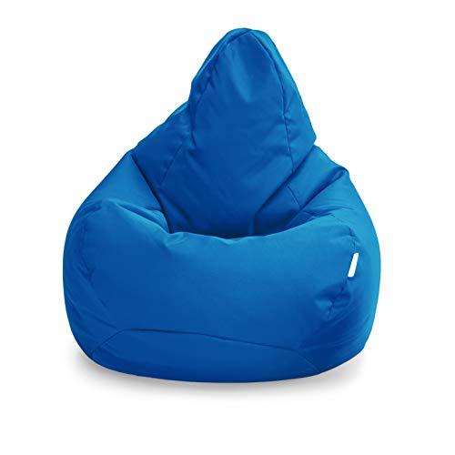 Loft 25 Puff Pera Gamer | Silla Puff Pera para Exteriores Interiores Sala | Resistente Al Agua | Limpieza Fácil | Diseño Ergonómico para Soporte del Cuerpo | Durable Y Cómoda (Marroquí Azul, Puff)