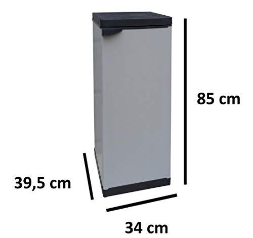 Adventa - Armario de Resina de 1 Puerta con Estante Ajustable (Interior/Exterior), Gris Negro, 34 x 39,5 x 85 cm