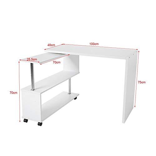 Escritorio de Esquina, Mesa de Ordenador en Forma de L 360° Giratorio Ajustable Escritorio Computadora Estantería Portátil Libreria Moderno Mueble para Oficina PC Estación Trabajo de Estudio(Blanco)