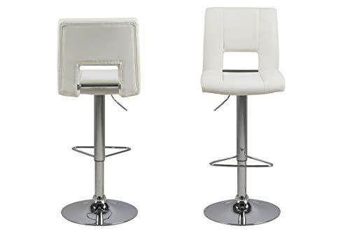 Amazon Brand - Movian Sarnen - Juego de 2 taburetes de bar, 52 x 41,5 x 115 cm, blanco