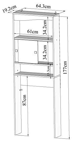 Symbiosis Click D7 Armario Alto para baño, Madera, Blanco y Gris, 64.3 x 19.2 x 177 cm