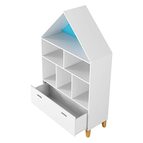 Homfa Estantería de Juguetes Estanteria Infantil Organizador de Juguetes con 1 Cajón y 6 Compartimentos de Almacenaje para Dormitorios de Niños SaladeEstudio Salón Casa Blanca 80x30x132.5cm
