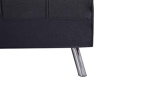 Marca Amazon - Movian Scutari - Sofá cama de dos plazas, 122 x 91 x 91, negro