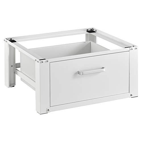 [en.casa] Pedestal para Lavadora con Cajón de Almacenamiento Soporte Mueble 63 x 54 x 31 cm hasta 150 kg Báse Estándar para Lavadora Plataforma Acero Aluminio Blanco