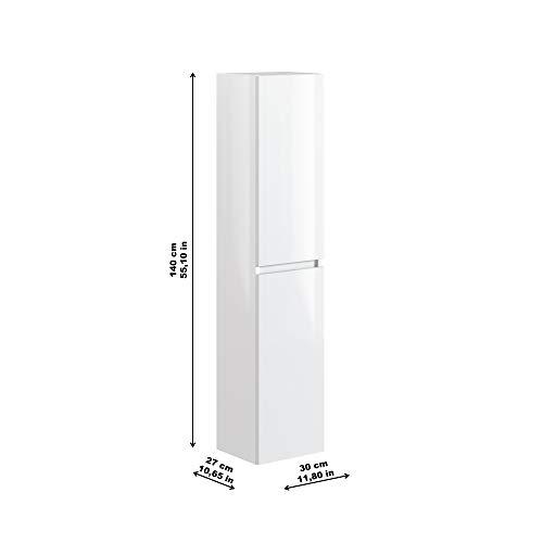 Marca Amazon -Movian Dive - Columna de baño, 30 x 27 x 140 cm, blanco