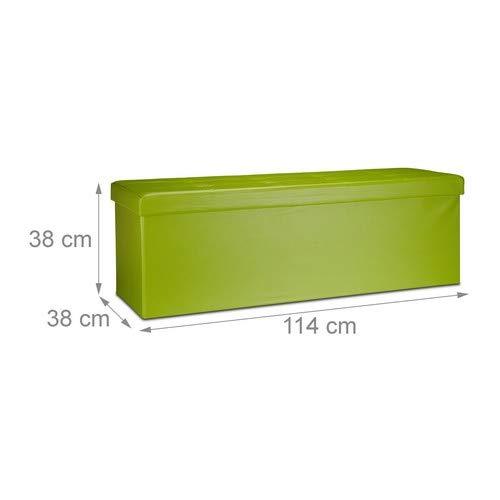Relaxdays Banco plegable, Baúl de almacenaje, Cuero sintético, 38 x 114 x 38 cm, Verde