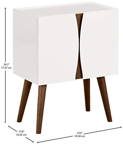 Marca Amazon -Rivet - Cómoda lacada con acabados en madera, 60 cm de largo (blanco brillante y madera)
