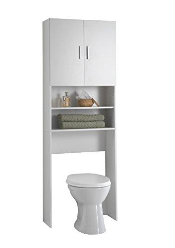 FMD Furniture - Armario y Mueble para Lavadora, Color Blanco, Armario de baño con 2 Puertas y estantes, para Lavadora, Secadora, WC 64 x 26 x 190 cm (Largo x Alto x Ancho) 913-001E