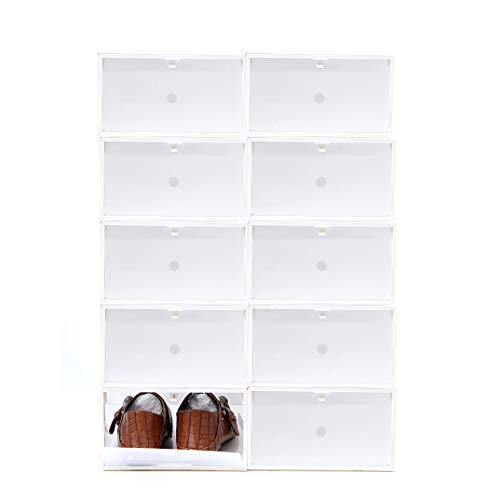 Sinbide 10 * Cajas para Zapatos Transparente Plástico, Cajas de Zapatos para Hombres y Mujeres, Organizador de Zapatos, Impermeable, Ahorra Espacio, Casa, Hogar, 34 * 22 * 13cm (Blanco)
