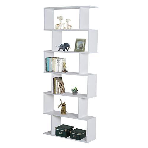 HOMCOM Estantería Librería 6 Estantes Comedor Salón Diseño Moderno Montaje de Pared 80x23x192cm Madera