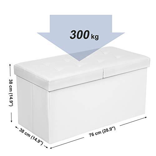 SONGMICS Puff Baúl Plegable Taburete de almacenamiento 80 L Tapa plegable Carga máxima de 300 kg Blanco 76 x 38 x 38 cm LSF45WT