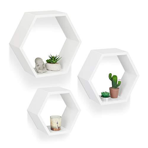Relaxdays Juego de Baldas Pared Grandes Hexagonales, Madera MDF, Blanco, 37 x 42 x 15 cm