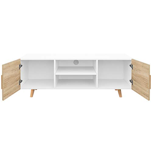 COMIFORT Mueble de TV - Mesa de Salón Moderno, Estilo Nórdico, Puertas con Tirador y Patas de Haya 100%, Muy Resistente, Fabricado en Europa, Color Blanco y Roble