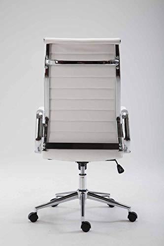 CLP Silla De Oficina Kolumbus En Simil Cuero & Base De Metal con Ruedas I Silla De Escritoria Ergonómica & Regulable En Altura, Color:Blanco