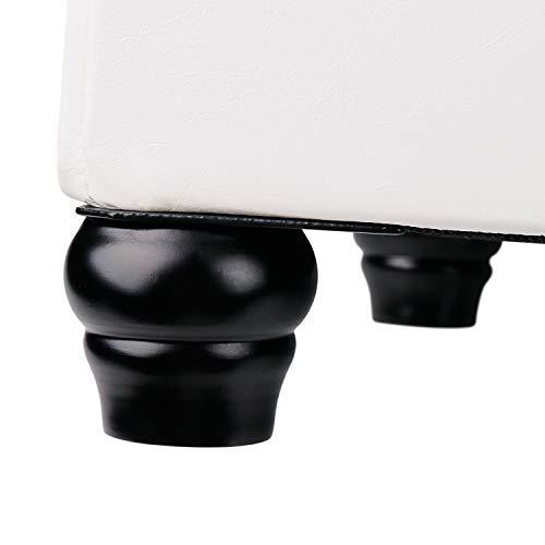 Leader Accessories Baúl Puff Taburete para Almacenaje Almacenamiento Silla Asiento Otomana Plegable Carga Máxima de 150kg (Blanco)