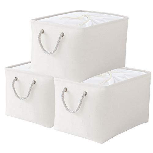 Yawinhe 3 PCS Cajas de almacenaje, Cajas de Almacenaje de Tela, Cajas de Almacenamiento Plegables, Organizador para Juguetes, Libros, Ropa