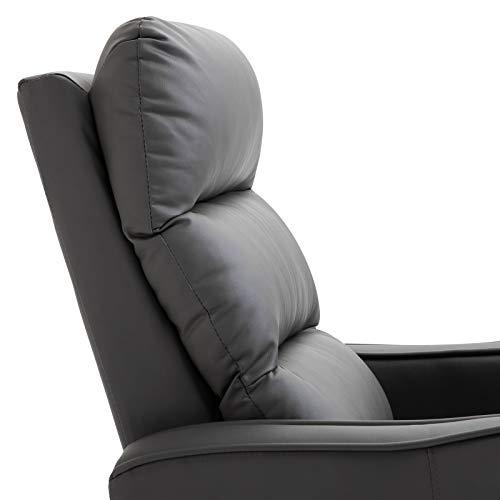 HOMCOM Sillón Relax con Reclinación Manual hasta 160°con Reposapiés Retráctil Esponja de Densidad Tapizado en PU 65x89x100cm