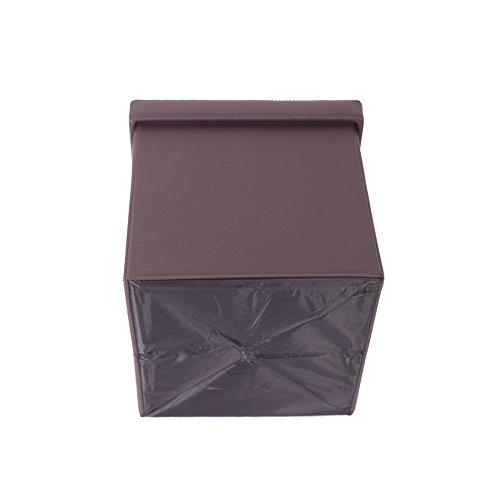 Rebecca Mobili Puff Cubo, contenedor de Cuero sintético, puf Plegable Cuero ecológico, Taburete, Color marrón - Medidas: 30 x 30 x 30 cm (AxANxF) - Art. RE4901