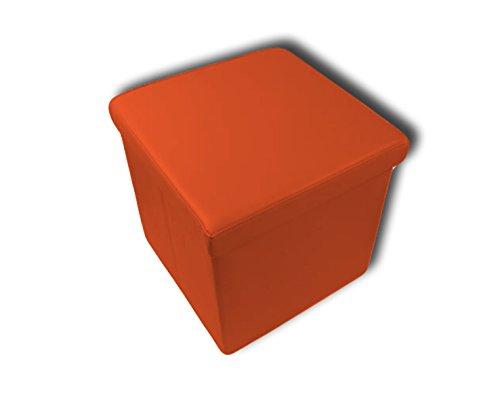 Stilia, Baúl Puff de Almacenaje, Taburete Acolchado y Plegable de Cuero, 38x38x38 cmts, (Naranja), 38 x 38 x 38 cm