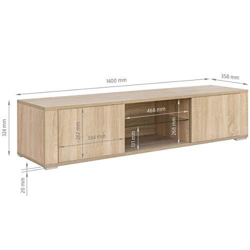 COMIFORT Mueble de TV - Mesa de Salón Moderno, Puerta con Sistema Click, Estante de Cristal Templado, Muy Resistente, Fabricado en Europa, Color Roble