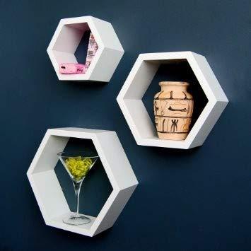 Artemio 14001892 - Juego de 3 bandejas hexagonales de Madera, Color Beige, 30 x 26,5 x 10 cm