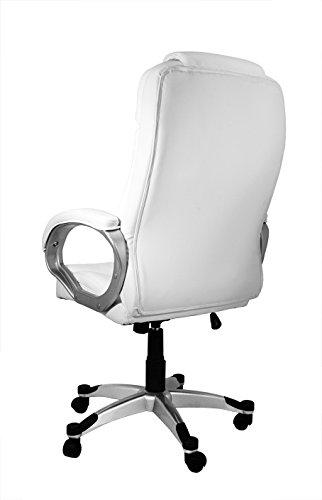 La Silla Española Valencia Silla de Oficina y Despacho, Piel Sintética, Blanco, 68x74x123 cm