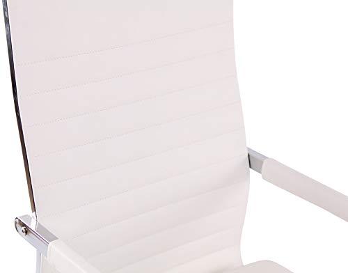 Silla De Oficina Amadora Tapizada En Cuero PU I Silla Ejecutiva con Ruedas I Silla De Escritorio Regulable En Altura & Giratoria I Color:, Color:Blanco
