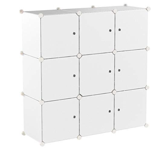 Relaxdays Estantería Modular con Puertas, Blanco, 95.5x32x95.5 cm