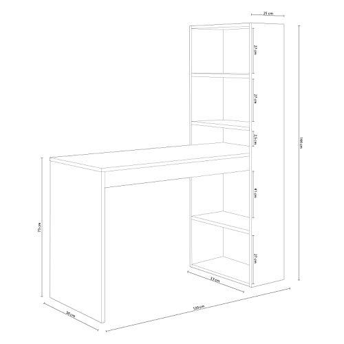 Habitdesign 0F8314A - Mesa de Ordenador PC o Escritorio con Estanteria Reversible, Blanco Artik y Roble Canadian, Modelo Duplo, Medidas: 120 cm (Largo) x 53 cm (Ancho) x 144 cm (Alto)