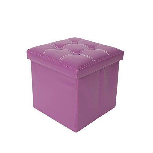Rebecca Mobili Puf para almacenar, Taburete cúbo, Moderno, Cuero sintético MDF, Accesorios para el hogar.- Medidas: 30 x 30 x 30 cm (AxANxF) - Art. RE4634