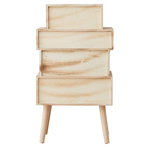 Rebecca Mobili Comóda 4 cajones salón, mesita de Noche Auxiliar, Madera marrón, Claro Blanco Gris- Medidas: 81 x 45 x 29 cm (AxANxF) - Art. RE6122