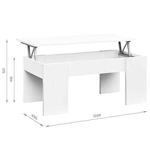 COMIFORT Mesa Centro Elevable - Mesa Salón Funcional con Gran Almacenaje, Estilo Moderno, Muy Resistente, Color Blanco, Fabricada en Europa