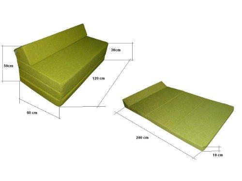Natalia Spzoo Colchón plegable cama de invitados forma de sillón sofá de espuma 200 x 120 cm (Gris 1008)