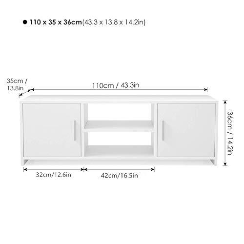Homfa Mueble TV Salón Mesa para TV Mesa Baja para Televisor Receptor Reproductor DVDcon 2 Puertas 1 Estante Blanco 110x35x36cm