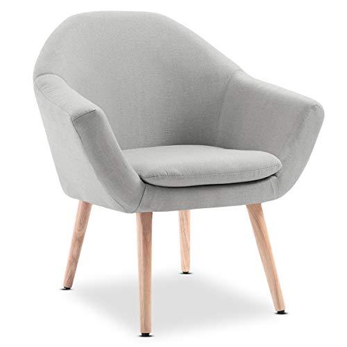 Mc Haus NAVIAN - Sillón Nórdico Escandinavo de color Beige, butaca comedor salón dormitorio, sillón acolchado con Reposabrazos y patas de madera 47x74x76cm